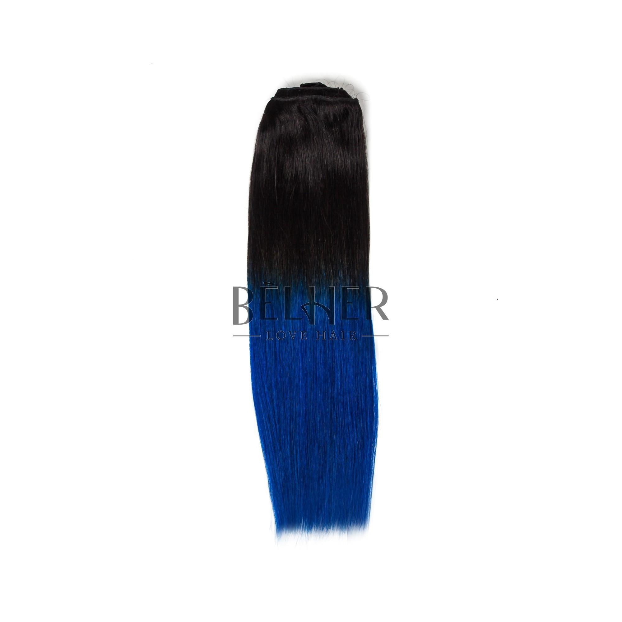 Extensii Clip-on Deluxe Ombre Brunet/albastru