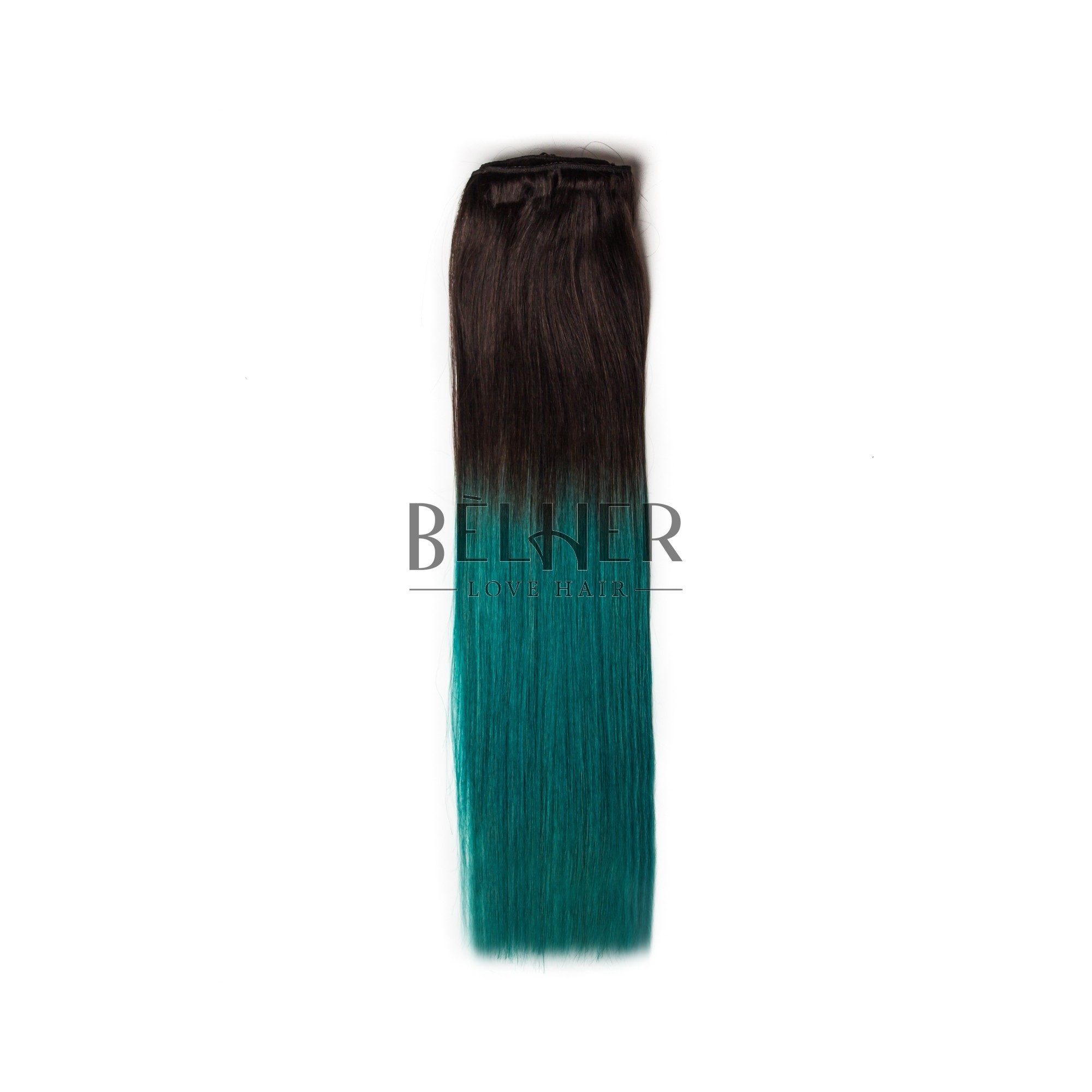 Extensii Clip-On DELUXE Ombre Saten/Verde Teal