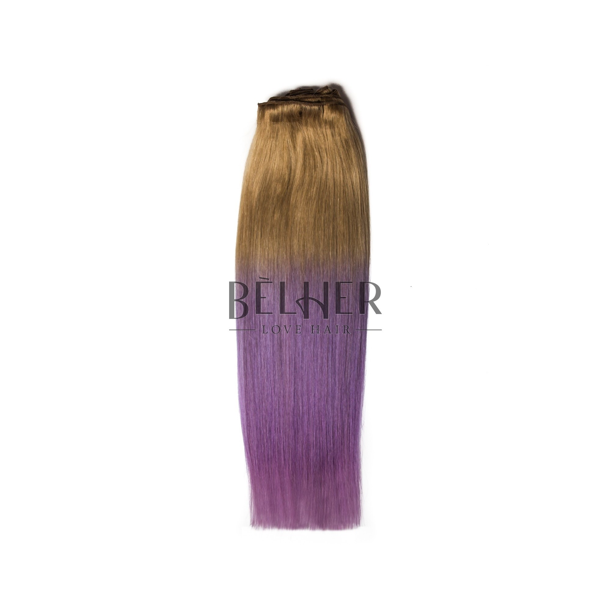 Extensii Clip-On DELUXE Ombre Blond Aluna/Mov pastel