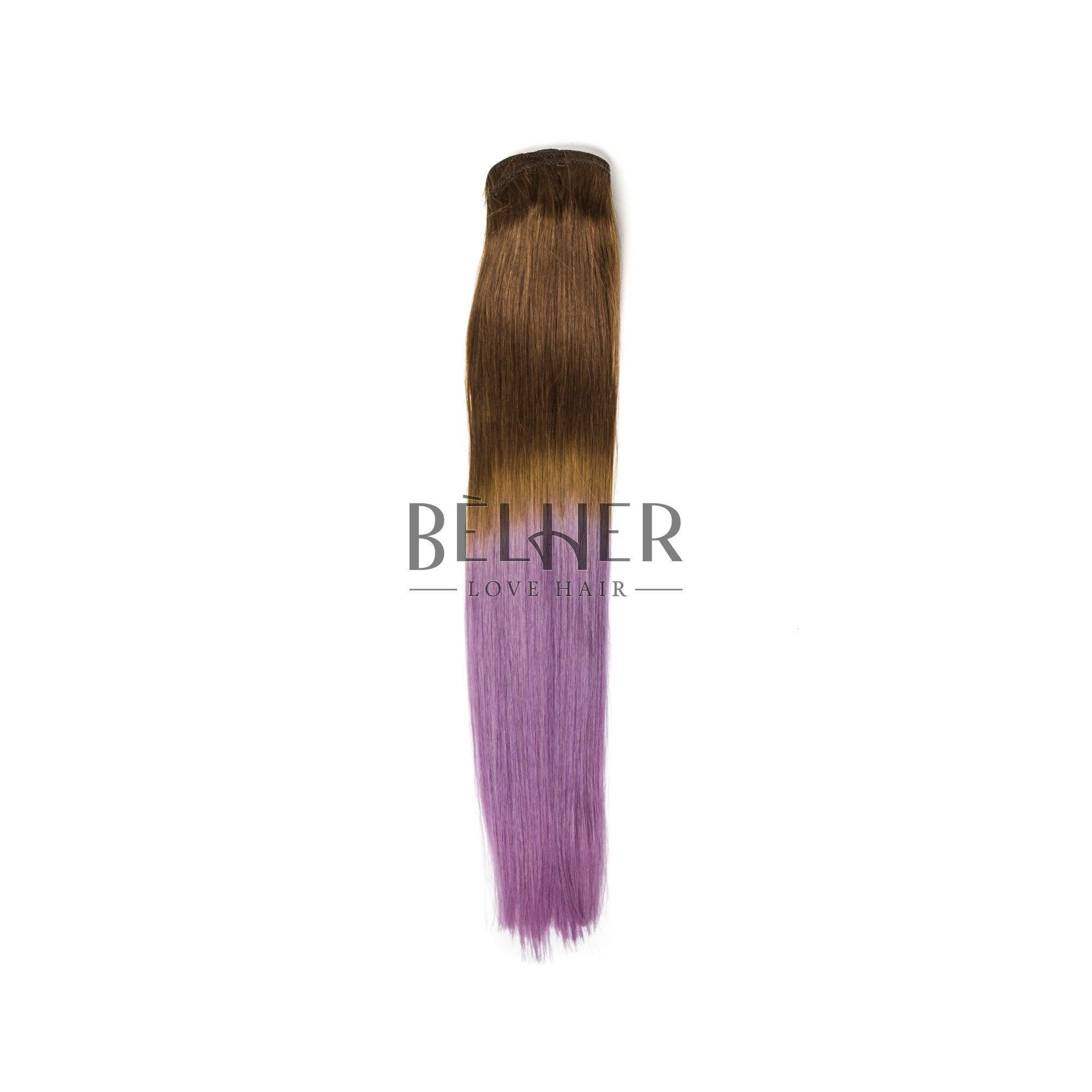 Extensii Clip-On PREMIUM Ombre Saten Natural/Mov