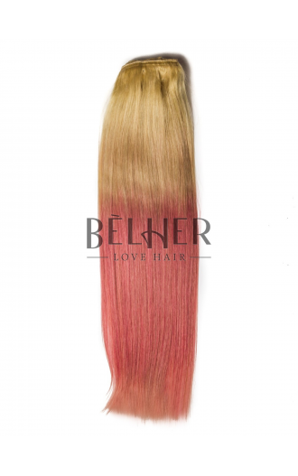 Extensii Clip-On PREMIUM Ombre Blond/Roz Pastel