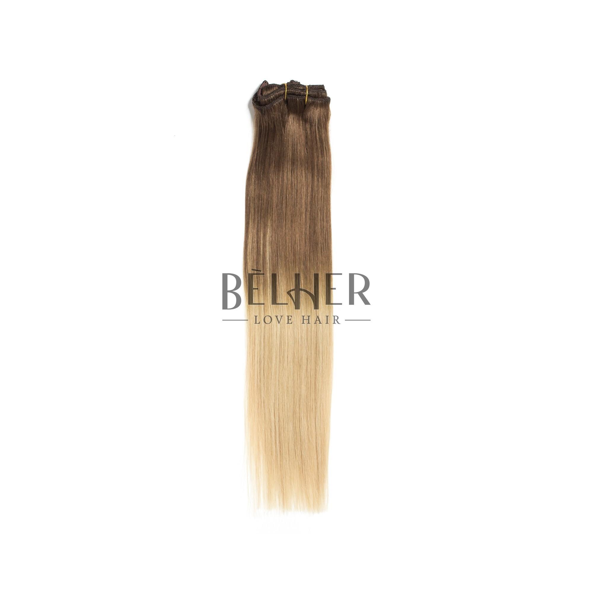 Extensii Clip-On Premium Ombre Saten Natural/Blond