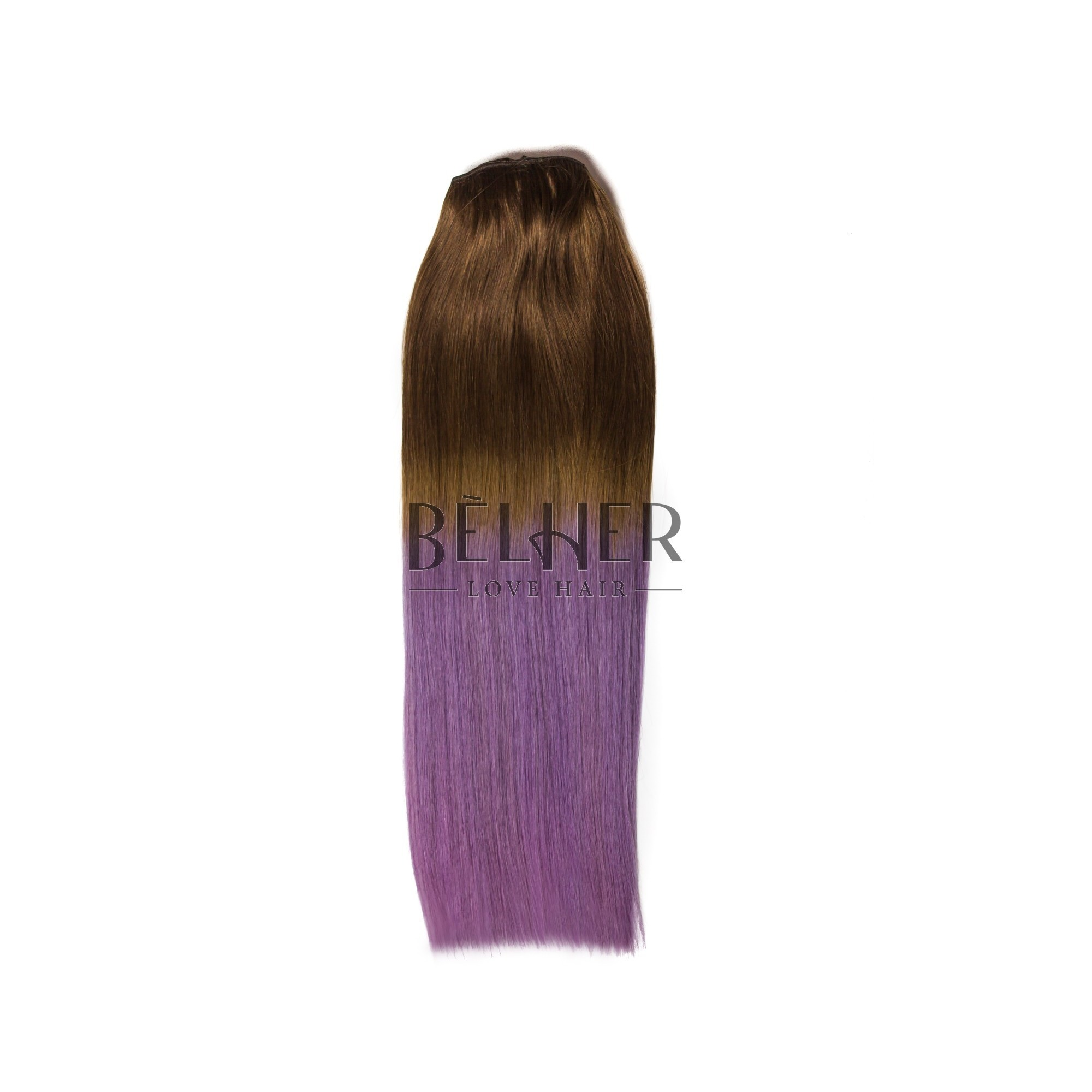 Extensii Clip-On DELUXE Ombre Saten Natural/Mov