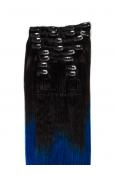 Extensii Ombre Brunet/Albastru Clip-On Premium
