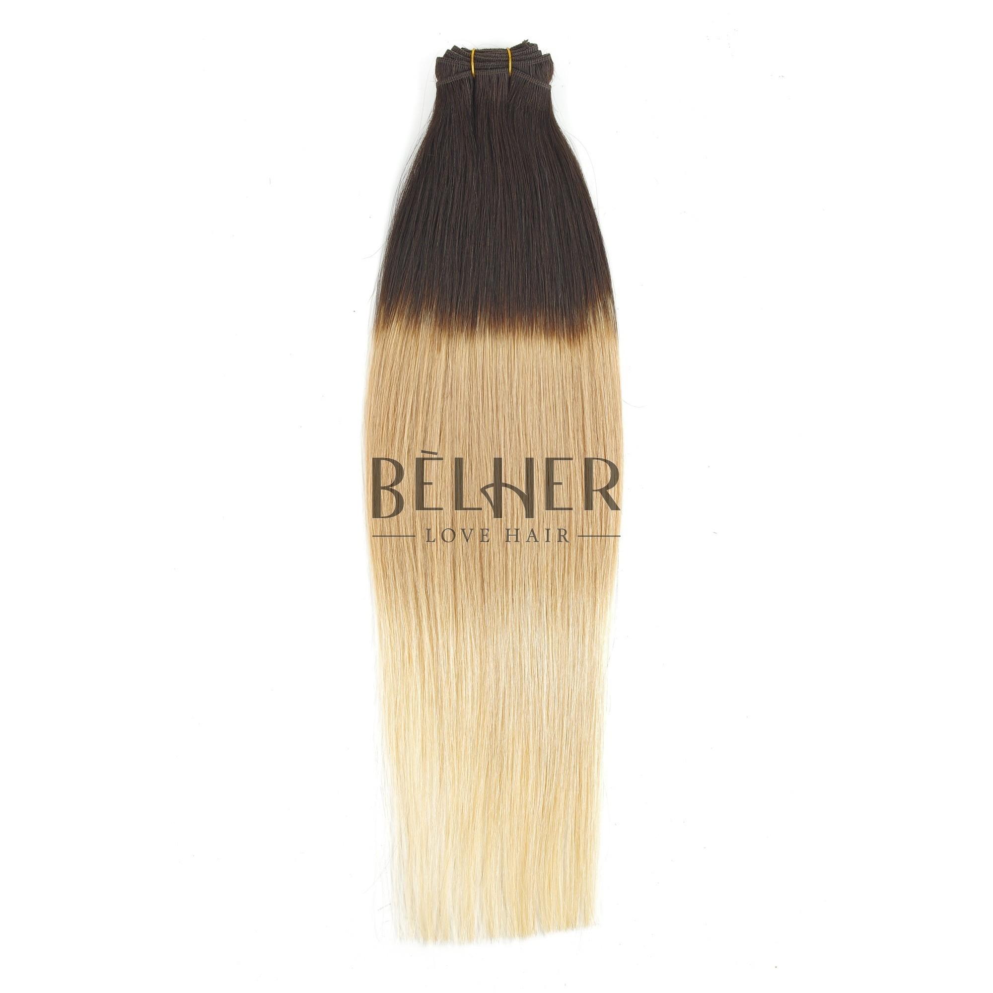 Extensii Cusute Premium Ombre Saten Inchis/Blond Cenusiu