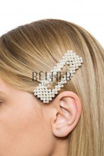 Clame cu Perle Argintiu Large Dreptunghiular