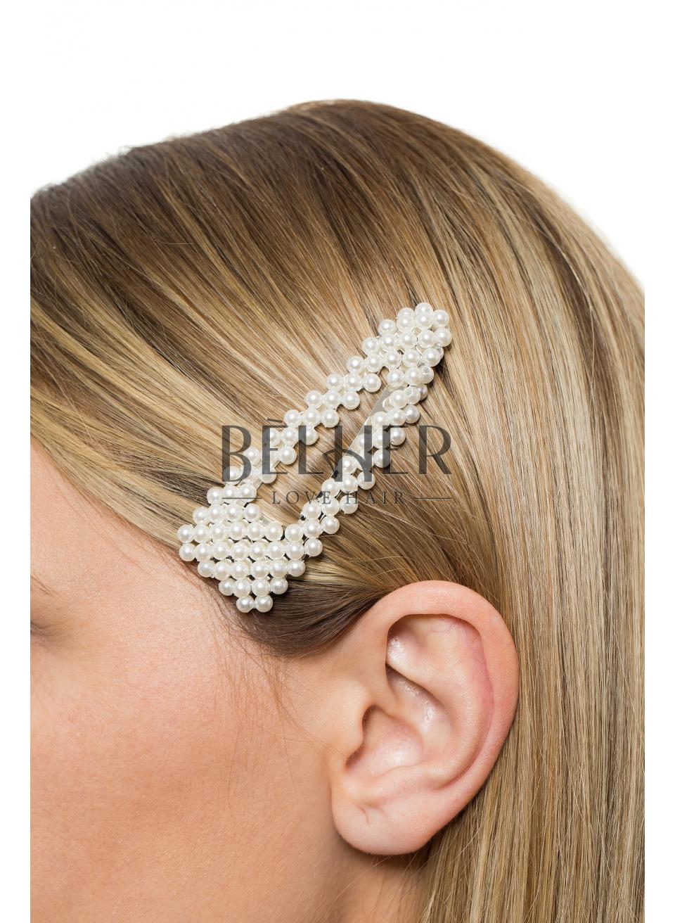 Clame cu Perle Argintiu Large Ascutit
