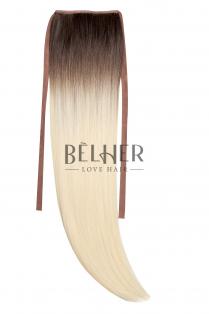 Coada Fibra Sintetica 55cm Ombre Saten Blond Platinat
